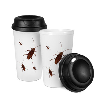Κατσαρίδα, Κούπα ταξιδιού πλαστικό (BPA-FREE) με καπάκι βιδωτό, διπλού τοιχώματος (θερμό) 330ml (1 τεμάχιο)