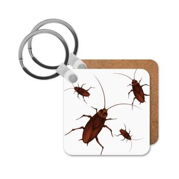 Κατσαρίδα, Μπρελόκ Ξύλινο τετράγωνο MDF 5cm (3mm πάχος)