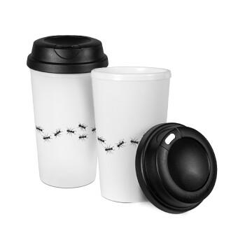Μυρμήγκια, Κούπα ταξιδιού πλαστικό (BPA-FREE) με καπάκι βιδωτό, διπλού τοιχώματος (θερμό) 330ml (1 τεμάχιο)
