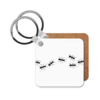 Μυρμήγκια, Μπρελόκ Ξύλινο τετράγωνο MDF 5cm (3mm πάχος)