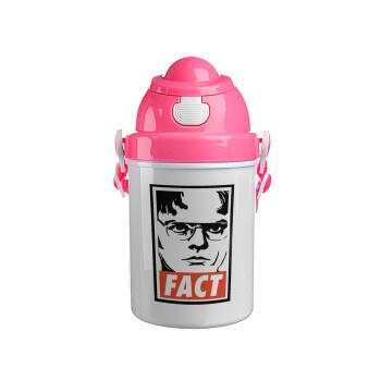 Dunder Mifflin FACT, Ροζ παιδικό παγούρι πλαστικό (BPA-FREE) με καπάκι ασφαλείας, κορδόνι και καλαμάκι, 400ml