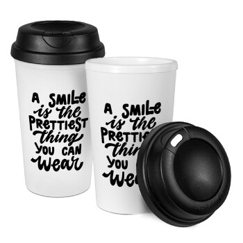 A smile is the prettiest thing you can wear, Κούπα ταξιδιού πλαστικό (BPA-FREE) με καπάκι βιδωτό, διπλού τοιχώματος (θερμό) 330ml (1 τεμάχιο)