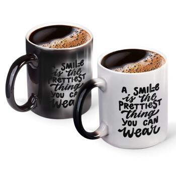 A smile is the prettiest thing you can wear, Κούπα Μαγική, κεραμική, 330ml που αλλάζει χρώμα με το ζεστό ρόφημα (1 τεμάχιο)