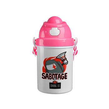Among US Sabotage, Ροζ παιδικό παγούρι πλαστικό (BPA-FREE) με καπάκι ασφαλείας, κορδόνι και καλαμάκι, 400ml