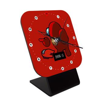 Among US i am impostor..., Επιτραπέζιο ρολόι ξύλινο με δείκτες (10cm)