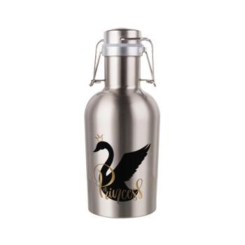 Swan Princess, Μεταλλικό παγούρι Inox (Stainless steel) με καπάκι ασφαλείας 1L