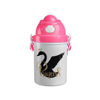 Swan Princess, Ροζ παιδικό παγούρι πλαστικό (BPA-FREE) με καπάκι ασφαλείας, κορδόνι και καλαμάκι, 400ml