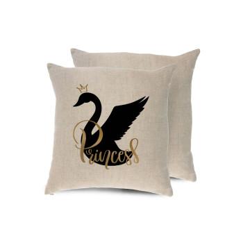 Swan Princess, Μαξιλάρι καναπέ ΛΙΝΟ 40x40cm περιέχεται το γέμισμα
