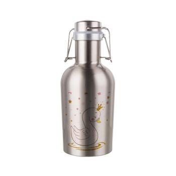 Κύκνος με στέμα, Μεταλλικό παγούρι Inox (Stainless steel) με καπάκι ασφαλείας 1L