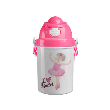 I Love Ballet, Ροζ παιδικό παγούρι πλαστικό (BPA-FREE) με καπάκι ασφαλείας, κορδόνι και καλαμάκι, 400ml