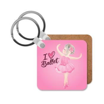 I Love Ballet, Μπρελόκ Ξύλινο τετράγωνο MDF 5cm (3mm πάχος)