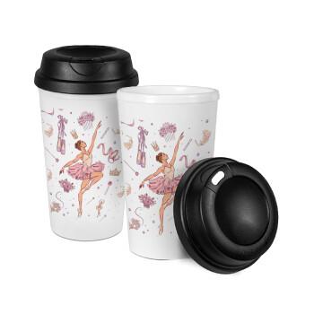 Μπαλαρίνα, Κούπα ταξιδιού πλαστικό (BPA-FREE) με καπάκι βιδωτό, διπλού τοιχώματος (θερμό) 330ml (1 τεμάχιο)