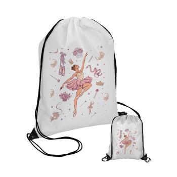 Μπαλαρίνα, Τσάντα πουγκί με μαύρα κορδόνια 45χ35cm (1 τεμάχιο)