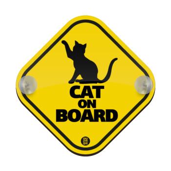 CAT on board, Σήμανση αυτοκινήτου Baby On Board ξύλινο με βεντουζάκια (16x16cm)