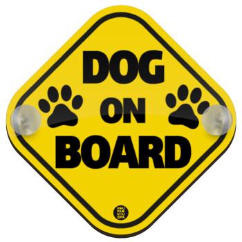 DOG on board paw, Σήμανση αυτοκινήτου Baby On Board ξύλινο με βεντουζάκια (16x16cm)