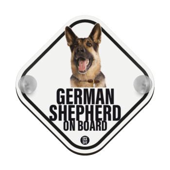 German Shepherd, Σήμανση αυτοκινήτου Baby On Board ξύλινο με βεντουζάκια (16x16cm)