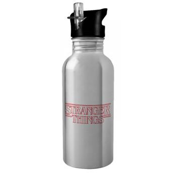 Stranger Things Logo, Stainless steel παγούρι ποδηλάτου ασημένιο με καλαμάκι (Stainless steel) 600ml