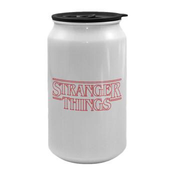 Stranger Things Logo, Κούπα ταξιδιού μεταλλική με καπάκι (tin-can) 500ml