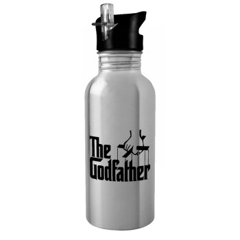 The Godfather, Stainless steel παγούρι ποδηλάτου ασημένιο με καλαμάκι (Stainless steel) 600ml