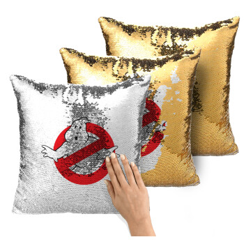 The Ghostbusters, Μαξιλάρι καναπέ Μαγικό Χρυσό με πούλιες 40x40cm περιέχεται το γέμισμα