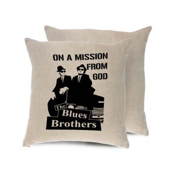Blues brothers on a mission from God, Μαξιλάρι καναπέ ΛΙΝΟ 40x40cm περιέχεται το γέμισμα