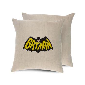 Batman classic logo, Μαξιλάρι καναπέ ΛΙΝΟ 40x40cm περιέχεται το γέμισμα