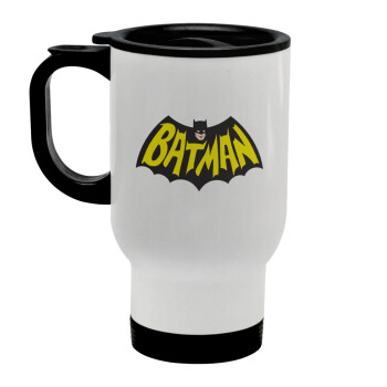 Batman classic logo, Κούπα ταξιδιού ανοξείδωτη με καπάκι, διπλού τοιχώματος (θερμό) λευκή 450ml