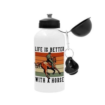 Life is Better with a Horse, Μεταλλικό παγούρι ποδηλάτου, Λευκό, αλουμινίου 500ml