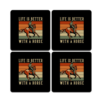 Life is Better with a Horse, ΣΕΤ 4 Σουβέρ ξύλινα τετράγωνα