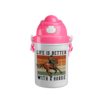 Life is Better with a Horse, Ροζ παιδικό παγούρι πλαστικό (BPA-FREE) με καπάκι ασφαλείας, κορδόνι και καλαμάκι, 400ml