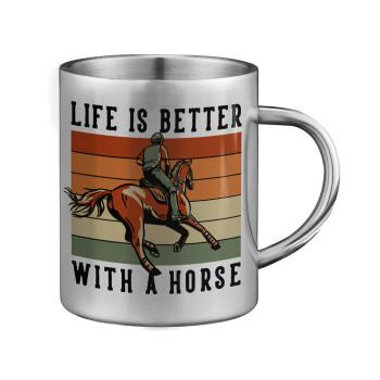 Life is Better with a Horse, Κούπα ανοξείδωτη διπλού τοιχώματος μεγάλη 350ml