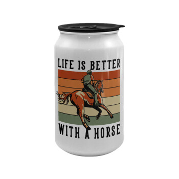 Life is Better with a Horse, Κούπα ταξιδιού μεταλλική με καπάκι (tin-can) 500ml