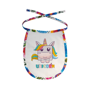 Unicorns cube, Σαλιάρα μωρού αλέκιαστη με κορδόνι Χρωματιστή