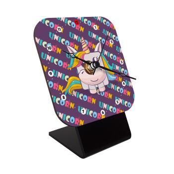 Unicorns cube, Επιτραπέζιο ρολόι ξύλινο με δείκτες (10cm)