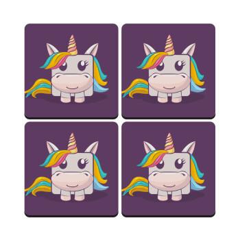 Unicorns cube, ΣΕΤ 4 Σουβέρ ξύλινα τετράγωνα