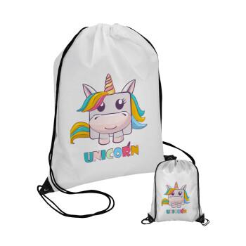 Unicorns cube, Τσάντα πουγκί με μαύρα κορδόνια 45χ35cm (1 τεμάχιο)