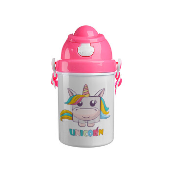 Unicorns cube, Ροζ παιδικό παγούρι πλαστικό (BPA-FREE) με καπάκι ασφαλείας, κορδόνι και καλαμάκι, 400ml