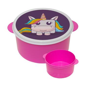 Unicorns cube, ΡΟΖ παιδικό δοχείο φαγητού πλαστικό (BPA-FREE) Lunch Βox M16 x Π16 x Υ8cm