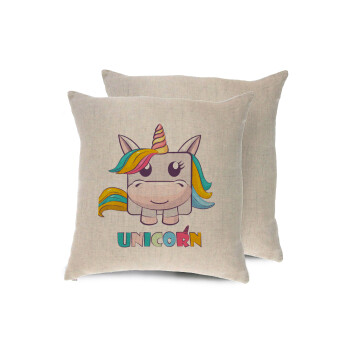 Unicorns cube, Μαξιλάρι καναπέ ΛΙΝΟ 40x40cm περιέχεται το γέμισμα