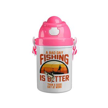 A bad day FISHING is better than a good day at work, Ροζ παιδικό παγούρι πλαστικό (BPA-FREE) με καπάκι ασφαλείας, κορδόνι και καλαμάκι, 400ml