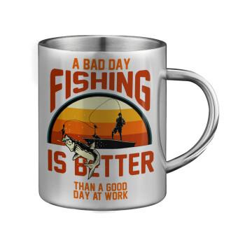 A bad day FISHING is better than a good day at work, Κούπα ανοξείδωτη διπλού τοιχώματος μεγάλη 350ml