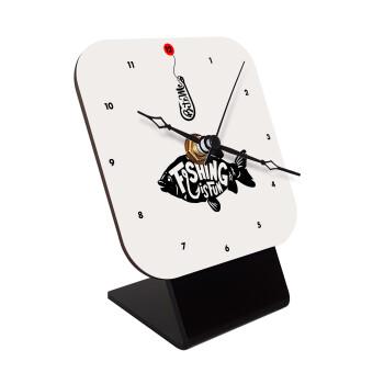 Fishing is fun, Επιτραπέζιο ρολόι ξύλινο με δείκτες (10cm)