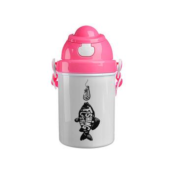 Fishing is fun, Ροζ παιδικό παγούρι πλαστικό (BPA-FREE) με καπάκι ασφαλείας, κορδόνι και καλαμάκι, 400ml