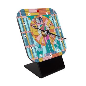 Θέμιδα βιτρώ, Επιτραπέζιο ρολόι ξύλινο με δείκτες (10cm)
