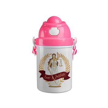 Θέμιδα, Ροζ παιδικό παγούρι πλαστικό (BPA-FREE) με καπάκι ασφαλείας, κορδόνι και καλαμάκι, 400ml