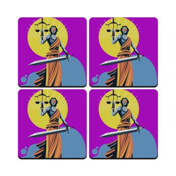 Θέμιδα art style, ΣΕΤ 4 Σουβέρ ξύλινα τετράγωνα