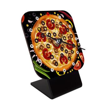 Pizza, Επιτραπέζιο ρολόι ξύλινο με δείκτες (10cm)