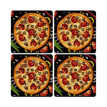 Pizza, ΣΕΤ 4 Σουβέρ ξύλινα τετράγωνα