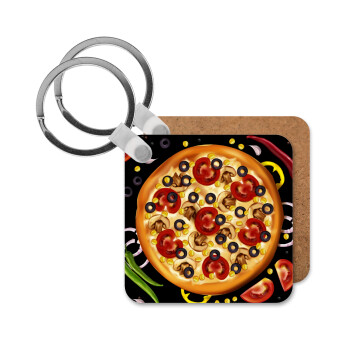 Pizza, Μπρελόκ Ξύλινο τετράγωνο MDF 5cm (3mm πάχος)