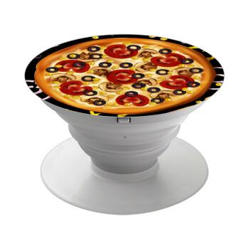 Pizza, Pop Socket Λευκό Βάση Στήριξης Κινητού στο Χέρι